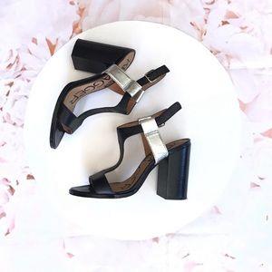 Kelsie dagger color block chunky heel sandals /